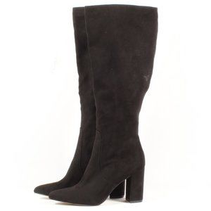 14th & Union Black Suede Knee High Heel Boots New